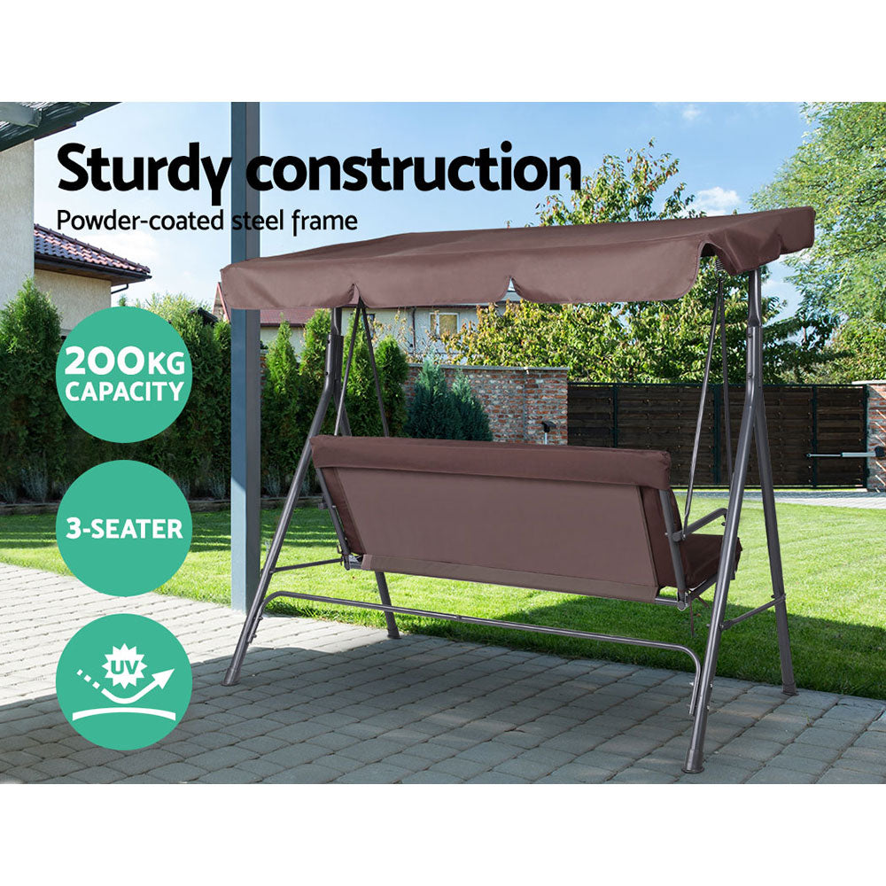 Gardeon Outdoor Swing Chair Hammock 3 Seater Garden Canopy Bench Seat Backyard