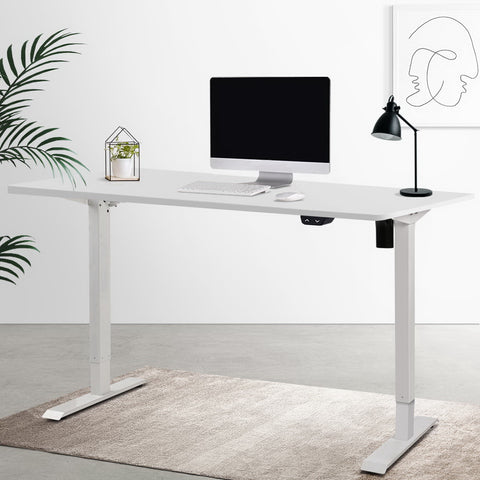 Electric Motorised Height Adjustable Standing Desk - White Frame with 100cm White Top