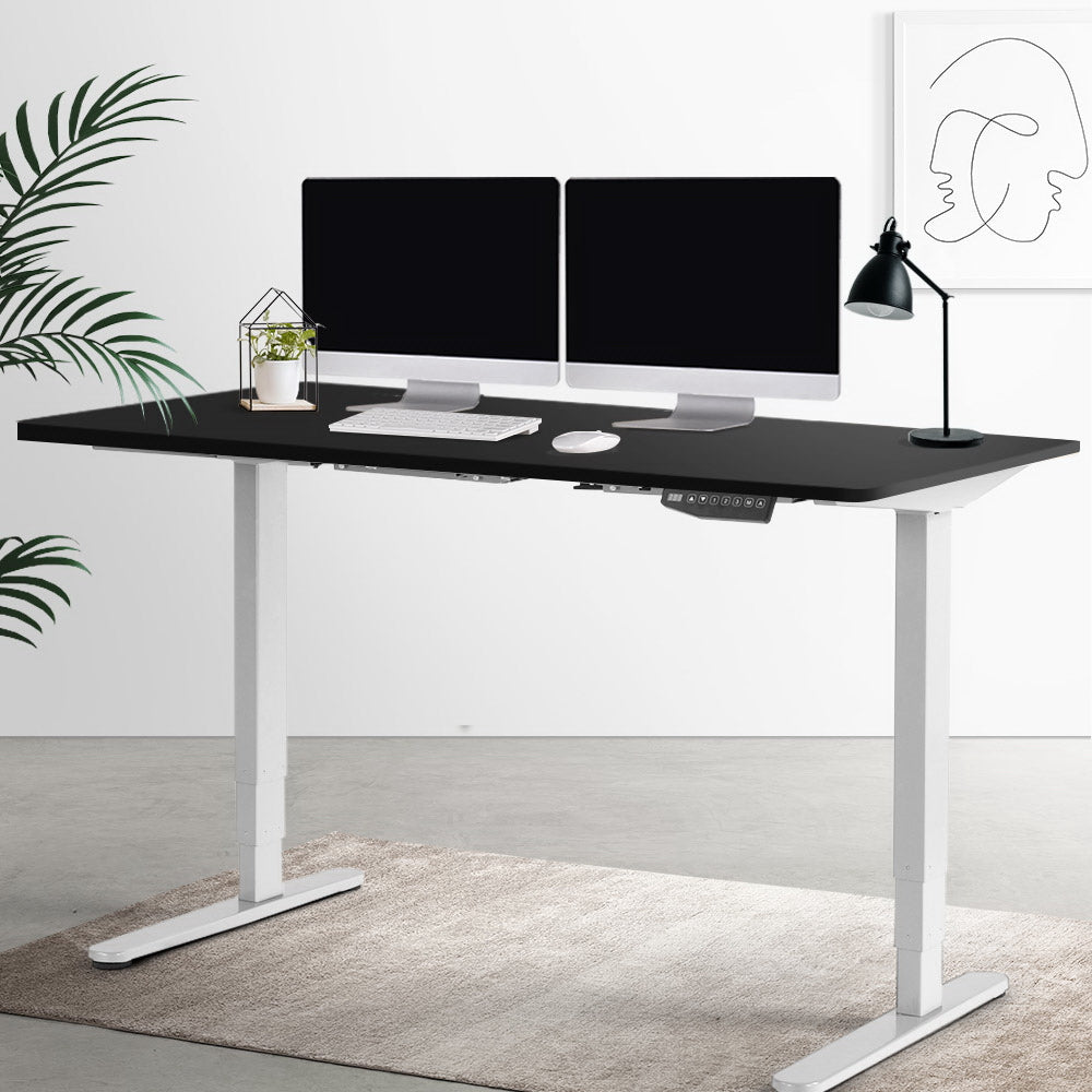 Electric Motorised Height Adjustable Standing Desk - White Frame with 160cm Black Top