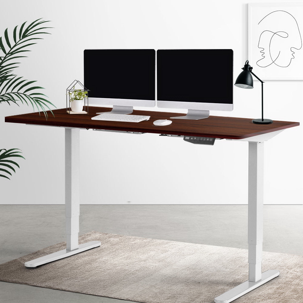Electric Motorised Height Adjustable Standing Desk - White Frame with 160cm Walnut Top