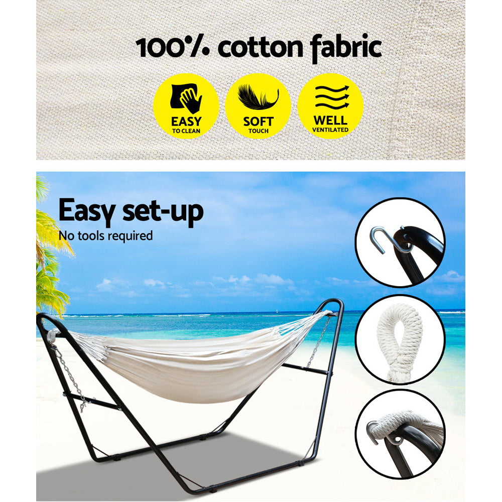 Gardeon Hammock Bed with Steel Frame Stand - Cream