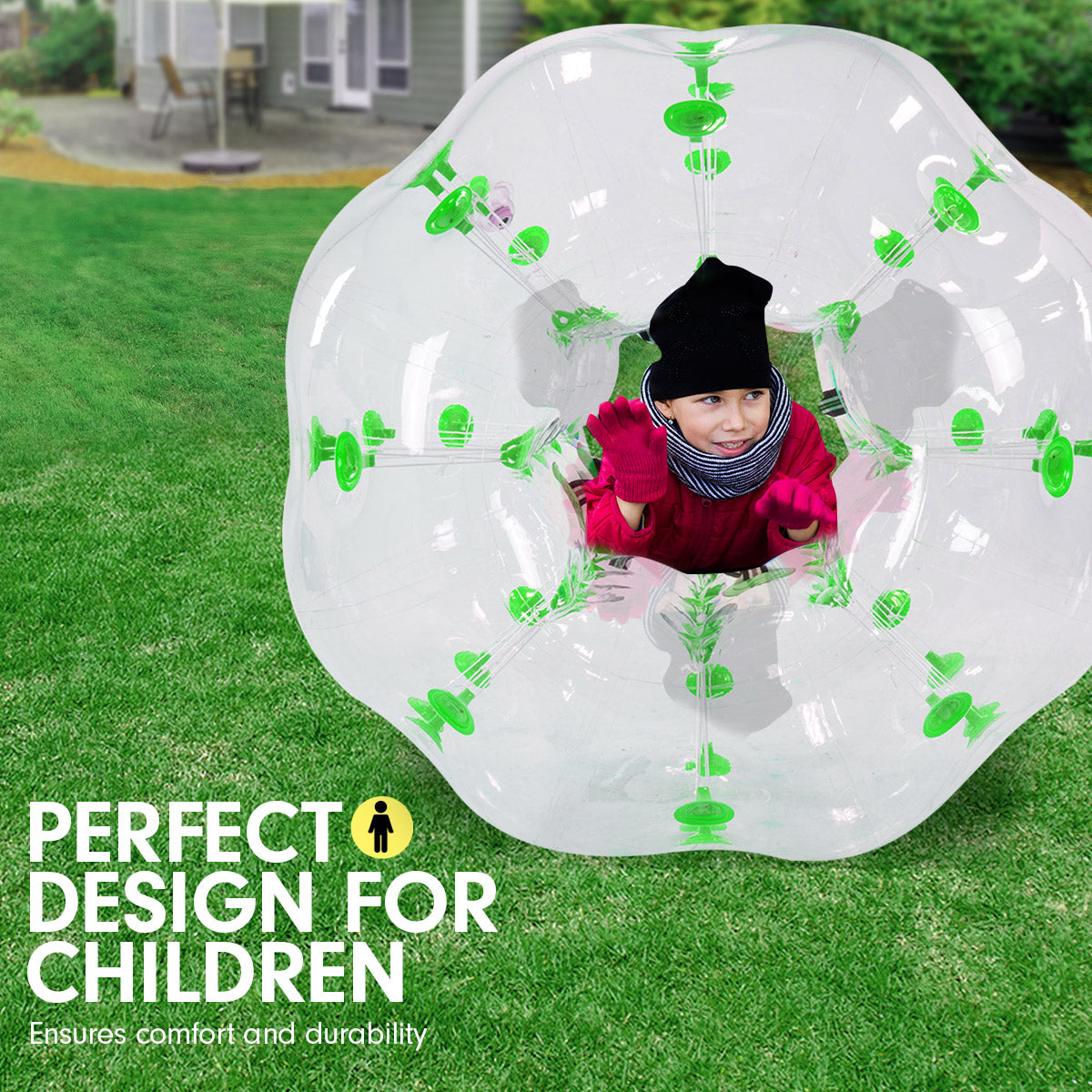 1.2m Inflatable Bumper Ball Body Bubble Outdoor Transparent - Green