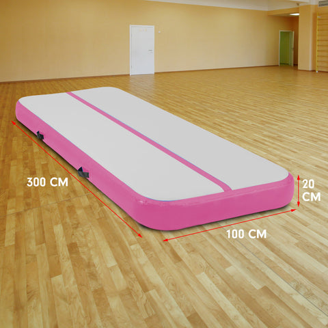 3m Airtrack Tumbling Mat Gymnastics Exercise 20cm Air Track - Pink