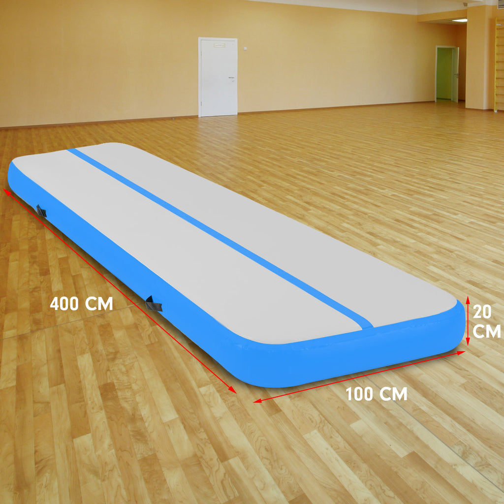 4m Airtrack Tumbling Mat Gymnastics Exercise 20cm Air Track - Blue