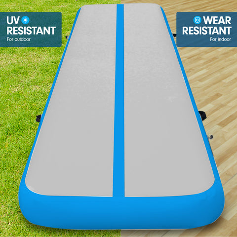 4m x 2m Airtrack Tumbling Mat Gymnastics Exercise Air Track Grey Blue