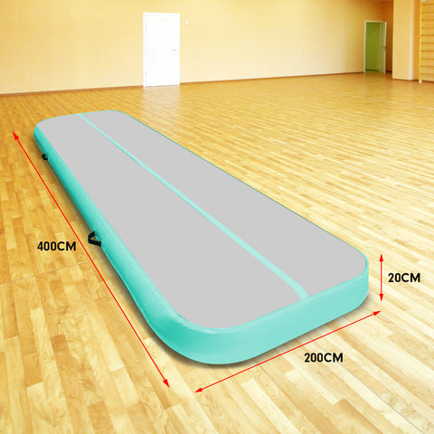 4m x 2m Airtrack Tumbling Mat Gymnastics Exercise Air Track Grey Green