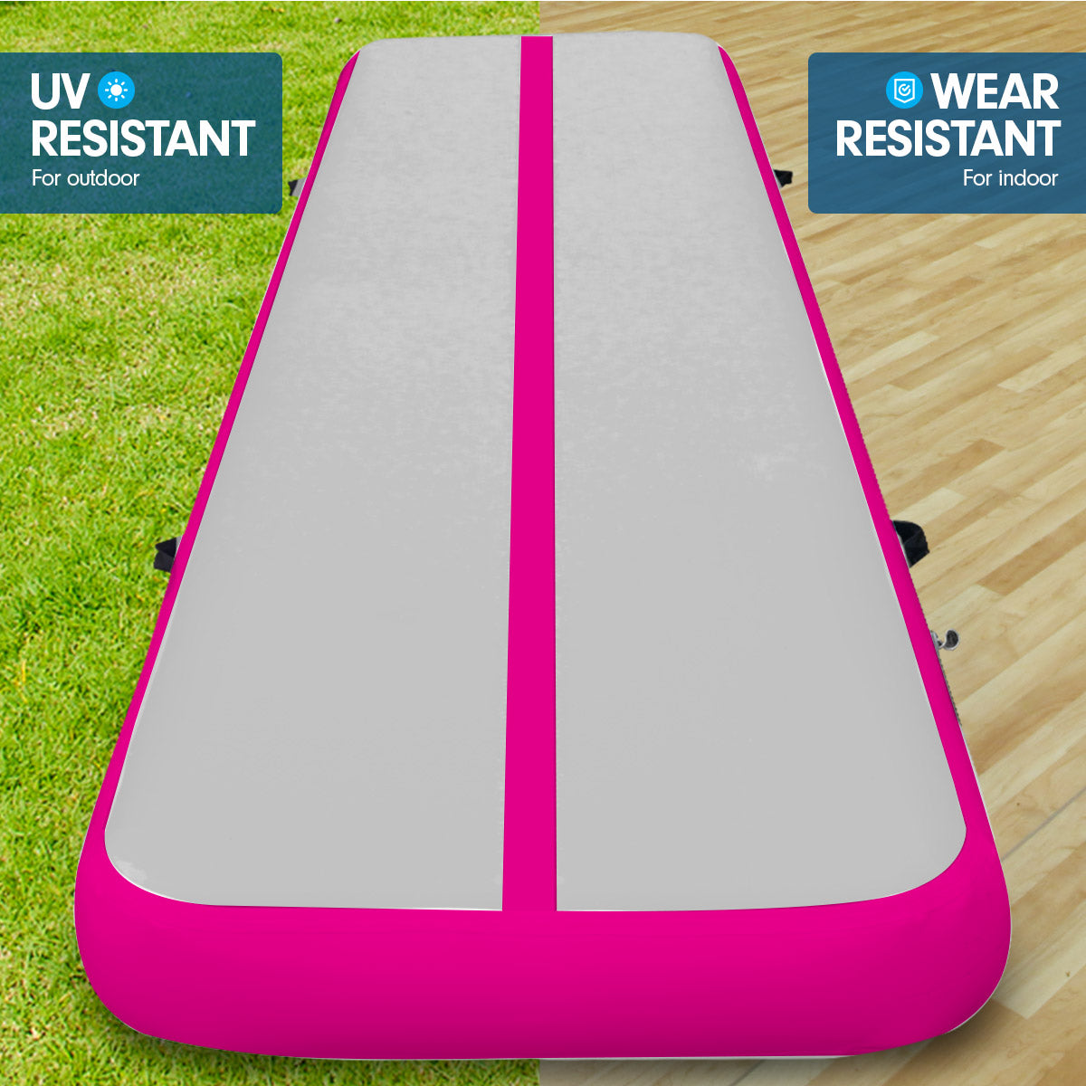 4m x 2m Airtrack Tumbling Mat Gymnastics Exercise Air Track Grey Pink