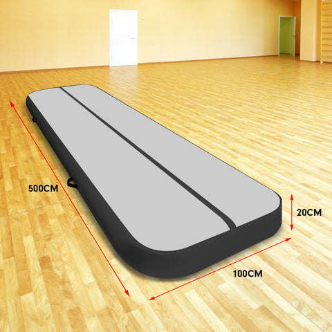 5m Airtrack Tumbling Mat Gymnastics Exercise 20cm Grey Black