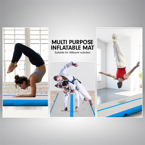 Powertrain 6m x 2m Airtrack Tumbling Mat Gymnastics Exercise Grey Blue