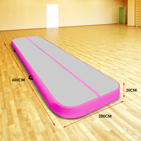 6m x 2m Airtrack Tumbling Mat Gymnastics Exercise Air Track Grey Pink