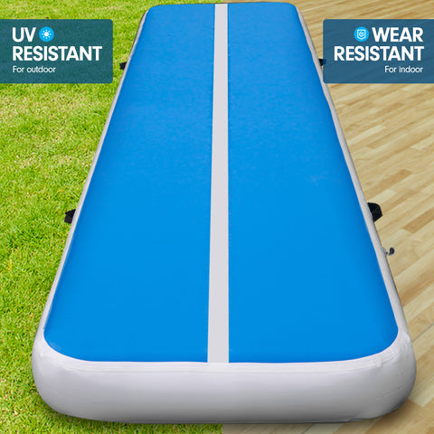 8m Airtrack Tumbling Mat Gymnastics Exercise 20cm Air Track Blue White