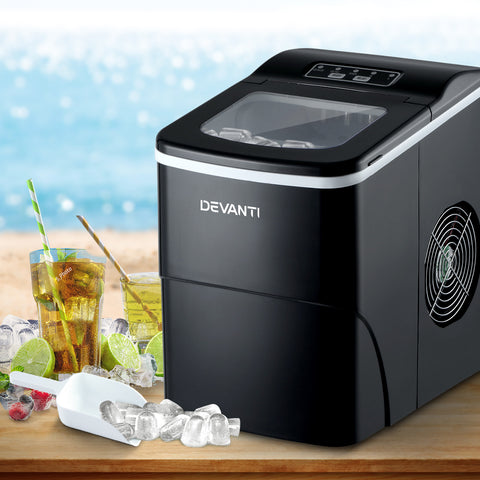 DEVANTi Portable Ice Cube Maker Machine 2L Home Bar Benchtop Easy Quick Black