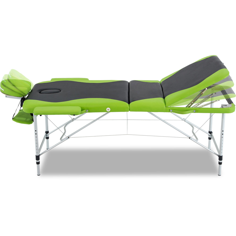 Zenses 3 Fold Portable Aluminium Massage Table - Green & Black