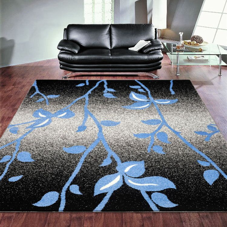 SOFT TOUCH FLOWER PRINT BLACK RUGS - Store Zone-Online Shopping Store Melbourne Australia
