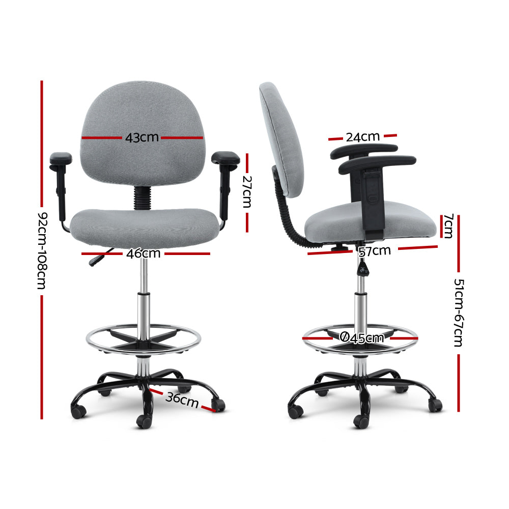Artiss Office Chair Veer Drafting Stool Fabric Chairs Adjustable Armrest Grey