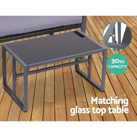 Gardeon 4PC Outdoor Furniture Patio Table Chair Black
