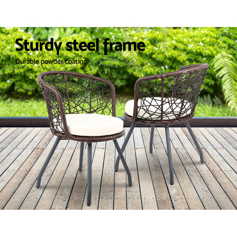 Gardeon Outdoor Patio Chair and Table - Brown