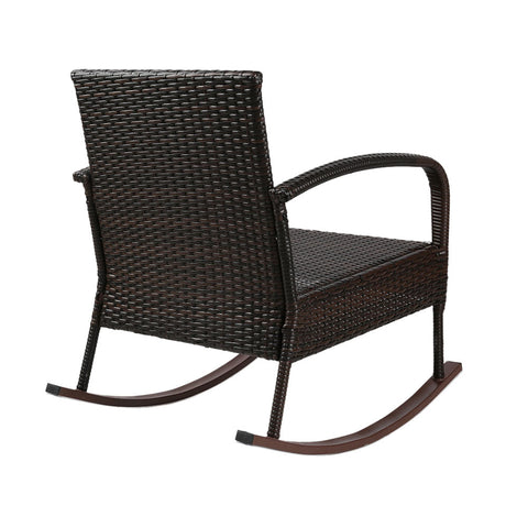 Gardeon Rocking Chairs Table Set Outdoor Setting Wicker Recliner Patio Furniture Brown