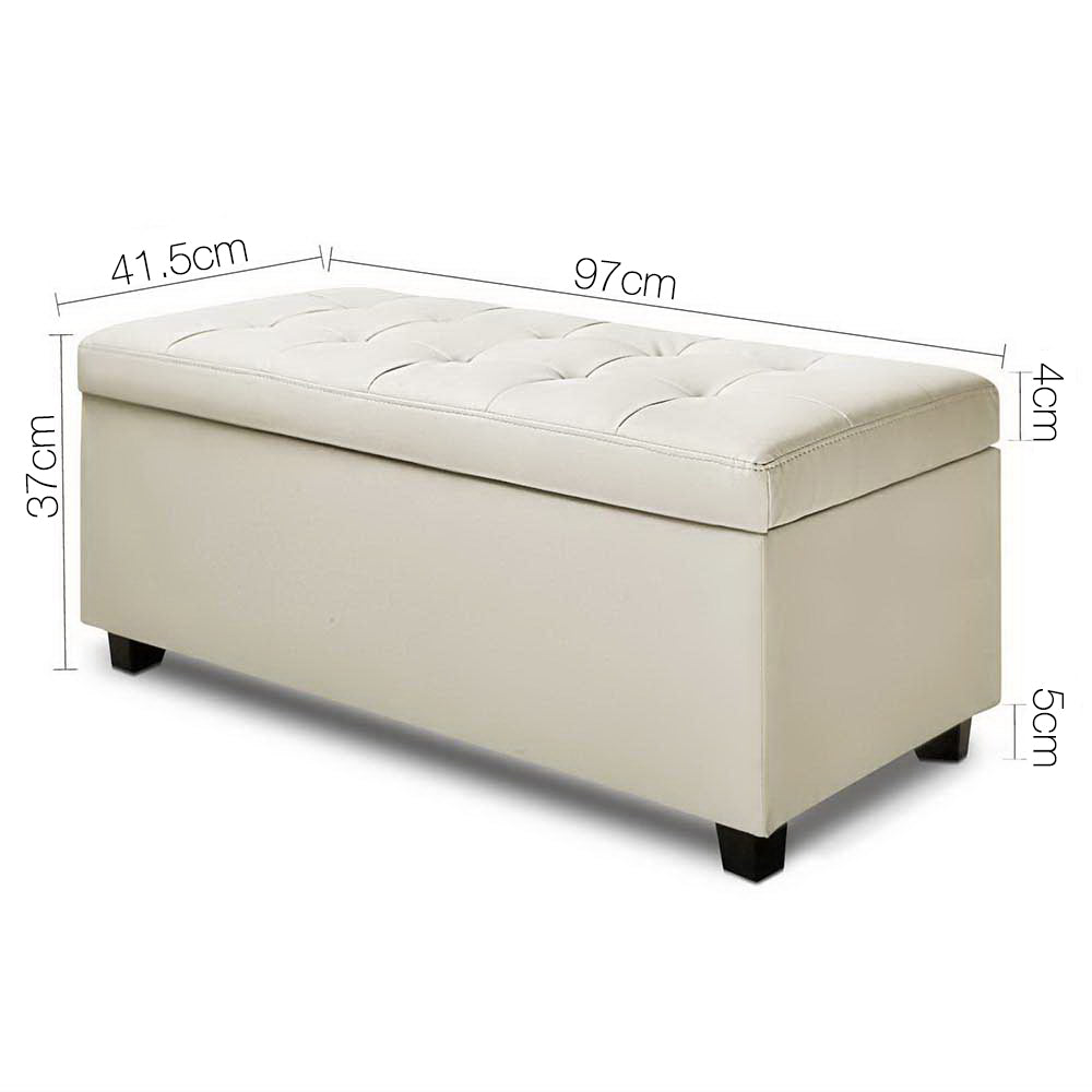 Artiss PU Leather Storage Ottoman - Cream