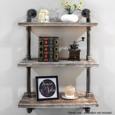 Artiss Industrial Shelves DIY Pipe Shelf Display Wall Floating Bookshelf Vintage 3 Tiers