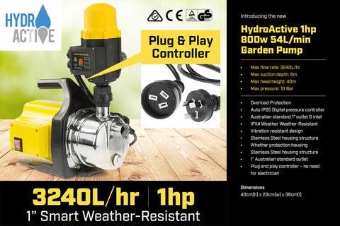 Hydro Active 800w Weatherised stainless auto water pump - Yellow