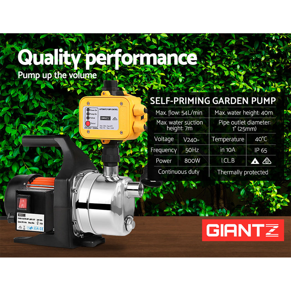 Giantz 800W High Pressure Garden Water Pump with Auto Controller
