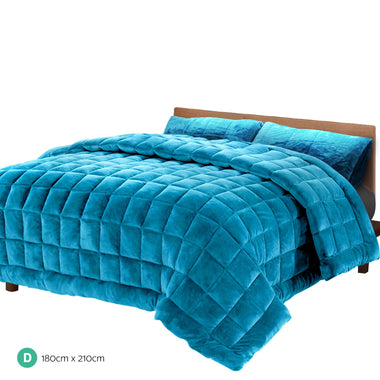 Giselle Bedding Faux Mink Quilt Comforter Fleece Throw Blanket Doona Teal Double