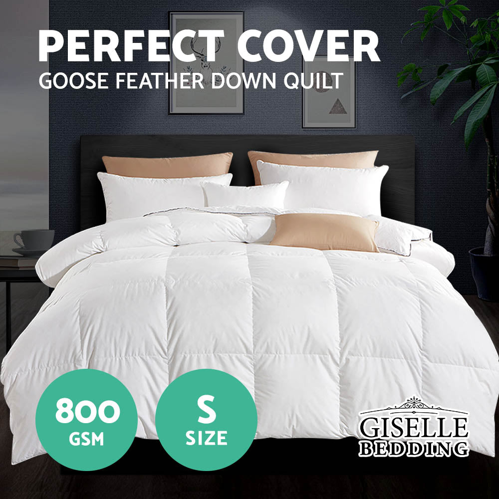 Giselle Bedding Goose Down Feather Quilt Cover Duvet 800GSM Winter Doona White Single