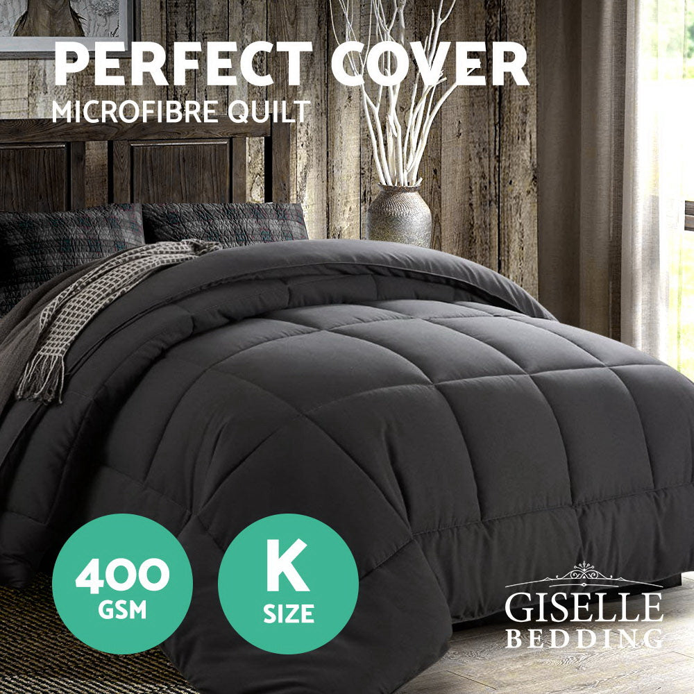 Giselle Bedding 400GSM Microfiber Microfibre Quilt Duvet Cover Doona Down Altern Comforter King Charcoal