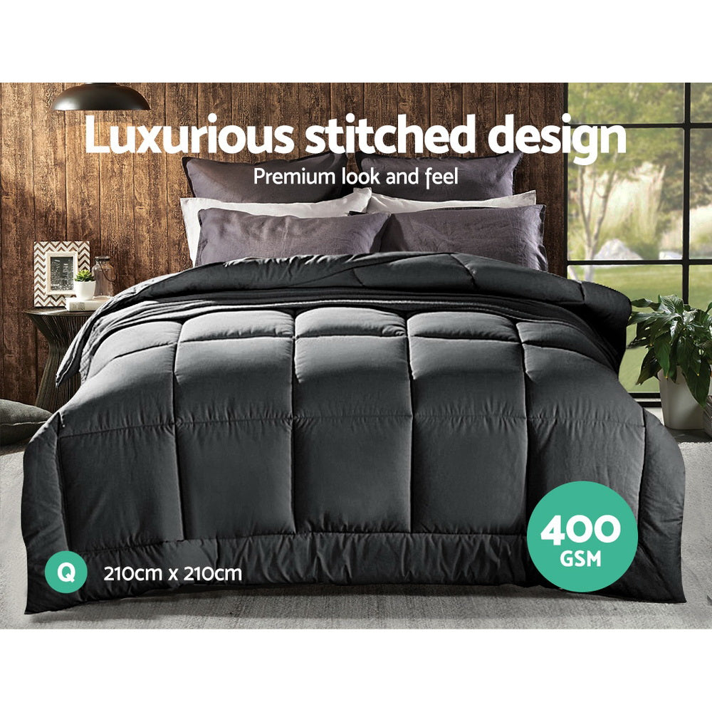 Giselle Bedding 400GSM Microfiber Microfibre Quilt Duvet Cover Doona Down Altern Comforter Queen Charcoal