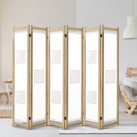 Artiss 6 Panel Room Divider Privacy Screen Wood Fabric Foldable Stand White Natural - Store Zone-Online Shopping Store Melbourne Australia