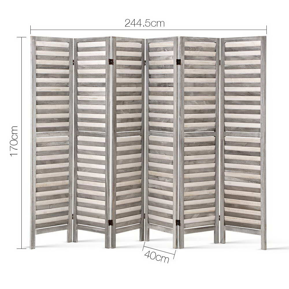 Artiss 6 Panel Room Divider Privacy Screen Foldable Wood Stand Grey - Store Zone-Online Shopping Store Melbourne Australia
