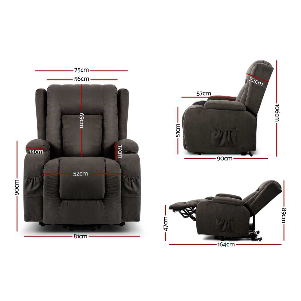 Artiss Electric Recliner Chair Lift Heated Massage Chairs Fabric Lounge Sofa