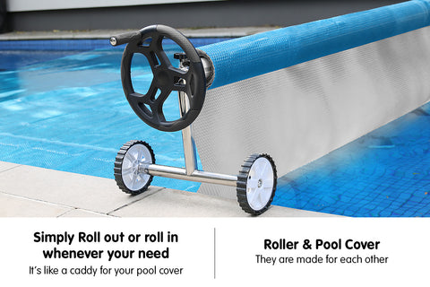 400micron Swimming Pool Roller Cover Combo - Silver/Blue - 10m x 4m