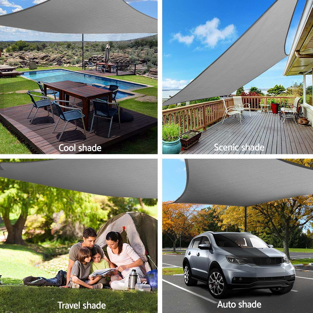 Instahut Sun Shade Sail Cloth Canopy Shadecloth Awning Outdoor Rectangle 280gsm