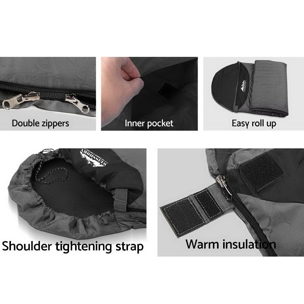 Weisshorn Single Thermal Micro Compact Sleeping Bag - Black & Grey