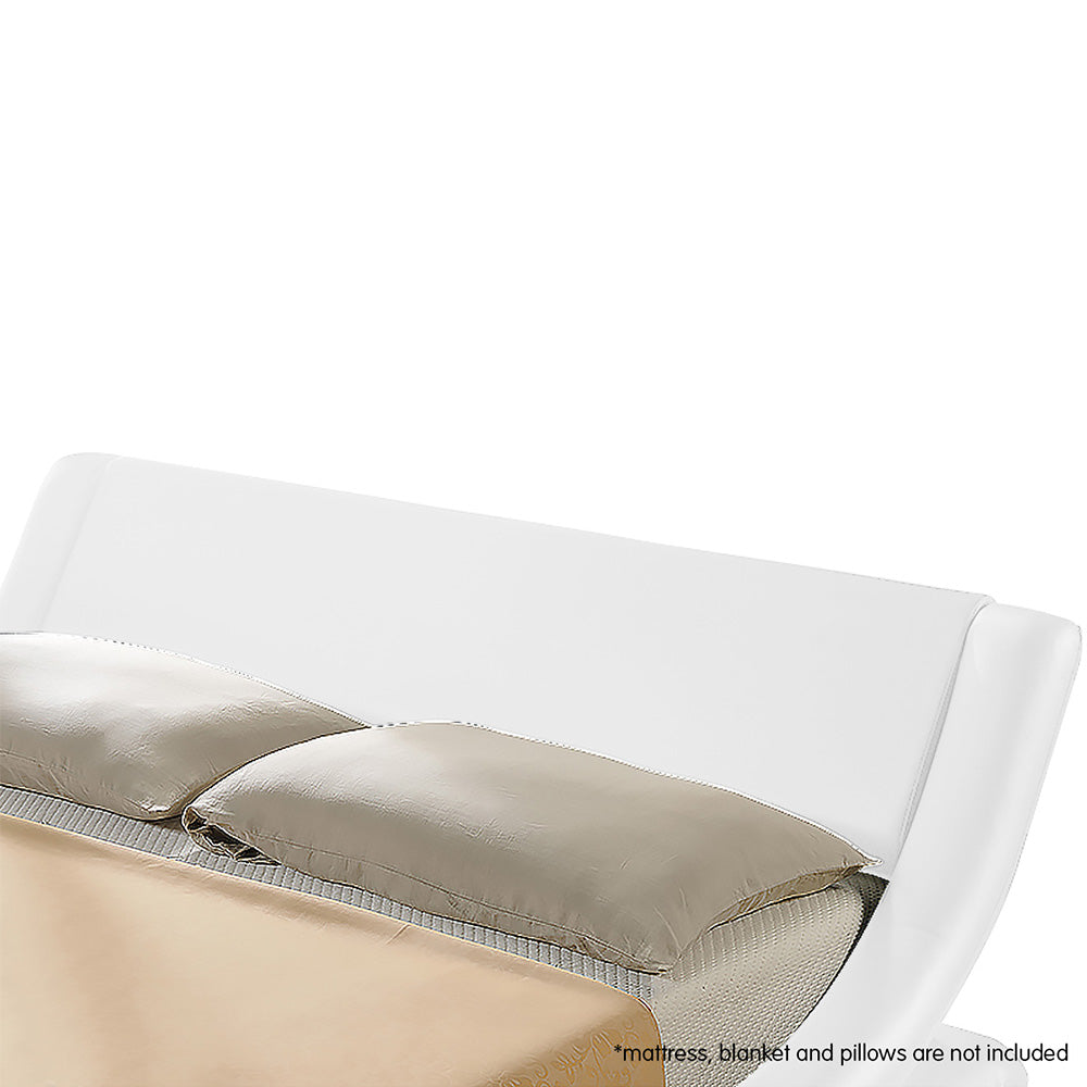 King Faux Leather Curved Bed Frame - White