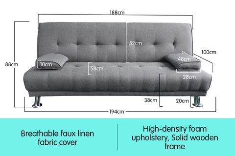Manhattan 3 Seater Linen Sofa Bed Couch Lounge Futon - Light Grey