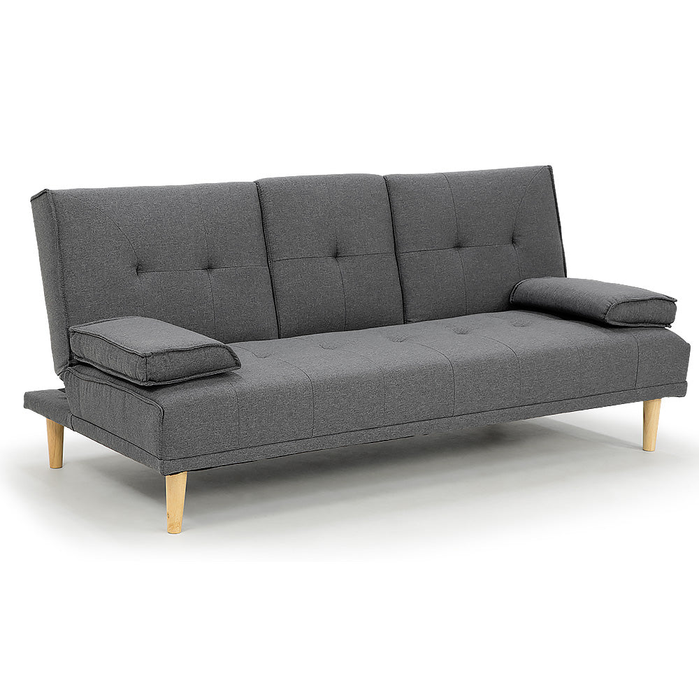 Rochester Linen Fabric Sofa Bed Lounge Couch Futon - Dark Grey