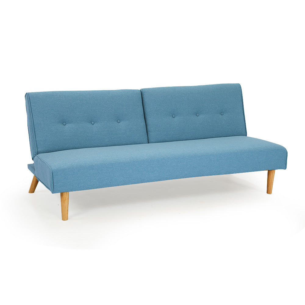 Soho 3 Seater Linen Fabric Sofa Bed Couch Lounge Futon - Light Blue