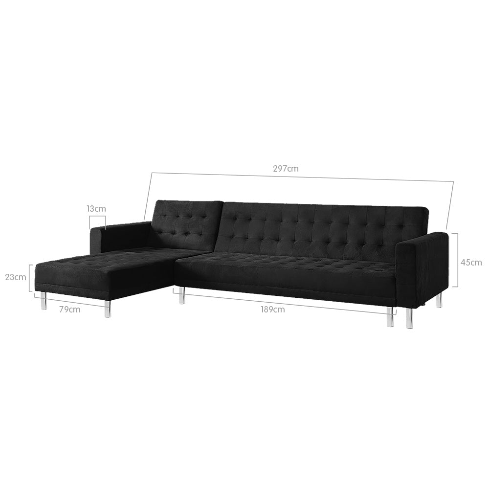 Suede Corner Sofa Bed Couch with Chaise - Black
