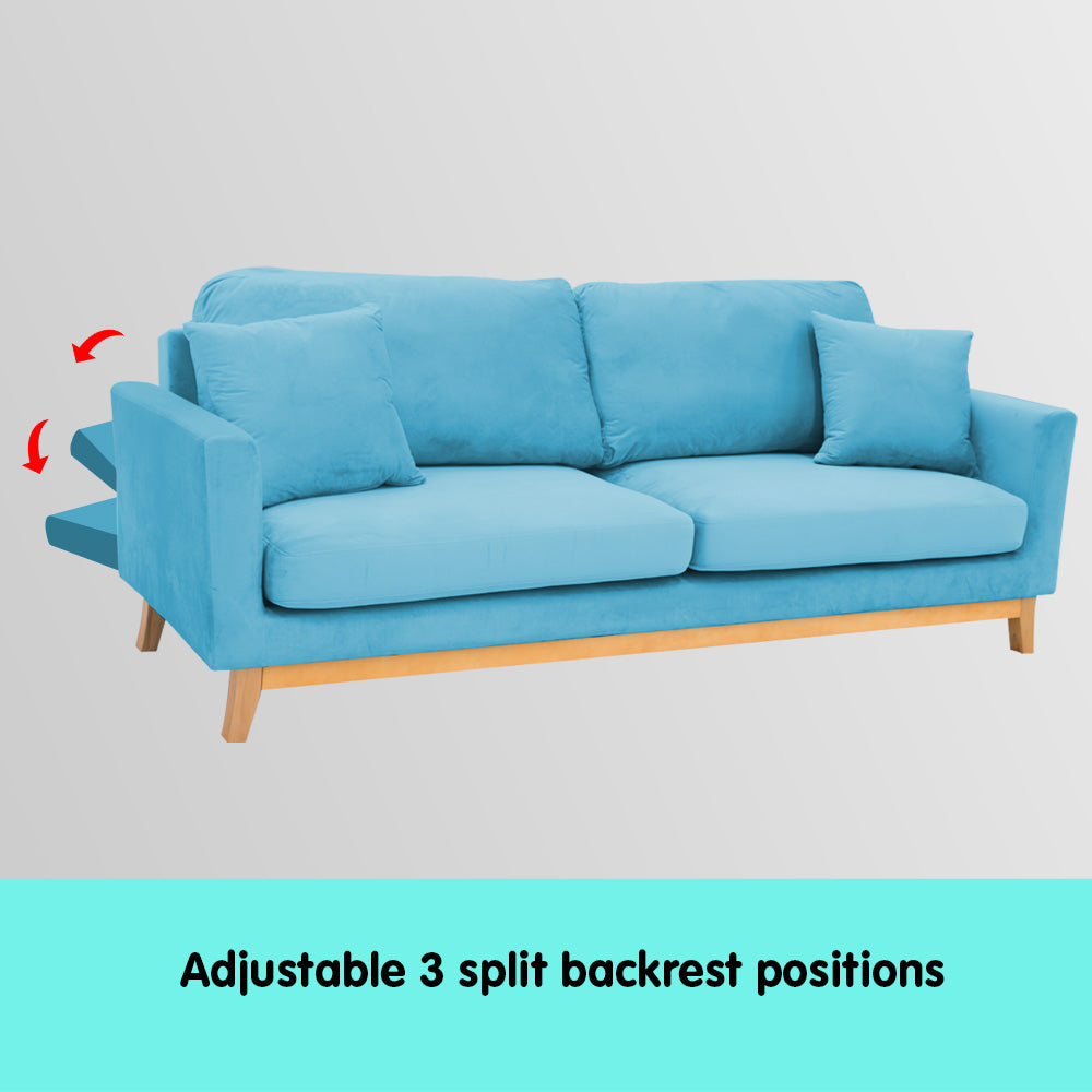 Sarantino 3 Seater Faux Velvet Sofa Bed Couch Furniture - Blue