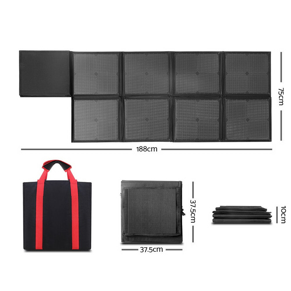 Solraiser 160W Folding Solar Panel Blanket Kit Regulator Black