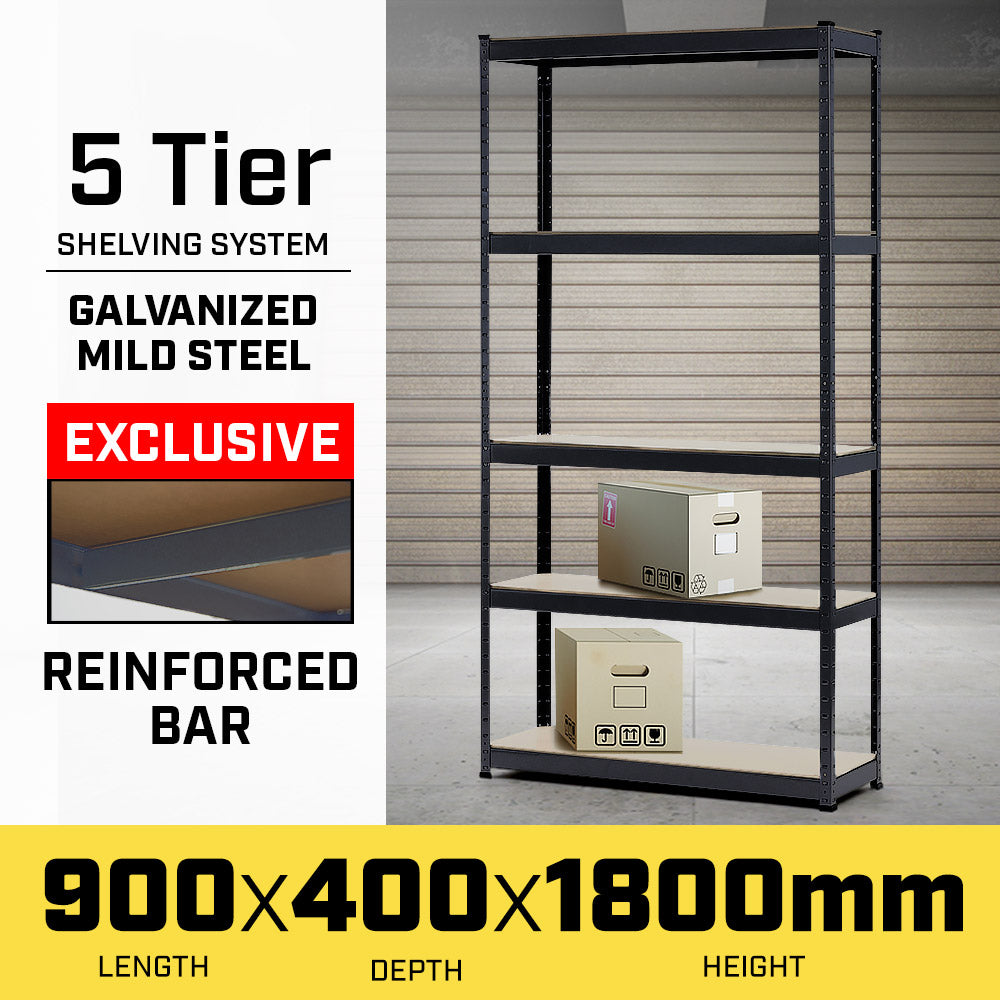 5 Shelf Storage Rack - Galvanized Steel 180x90cm