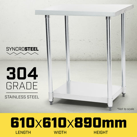 304 Stainless Steel Prep Kitchen Work Bench 610 x 610mm