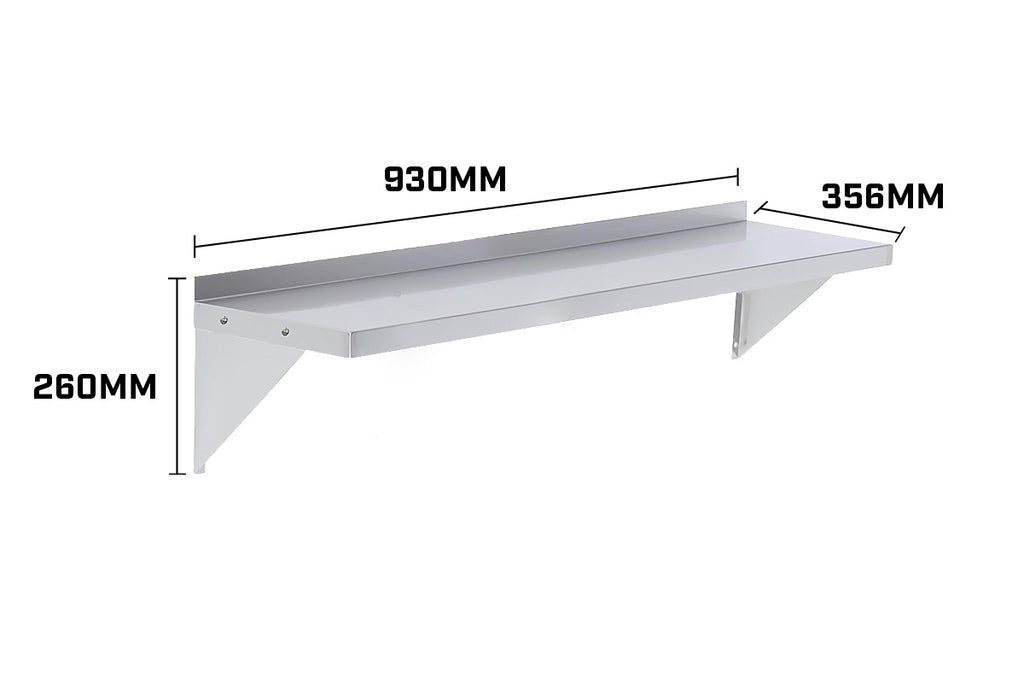 930x356mm Stainless Wall Mounted Shelf