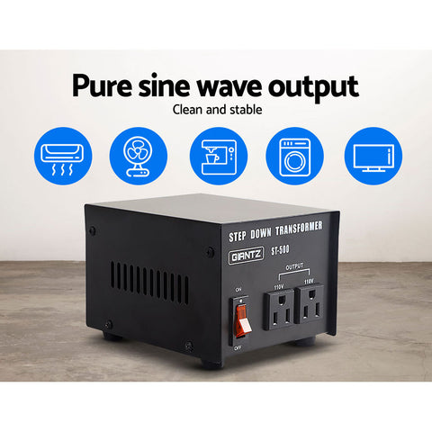 Giantz Stepdown Transformer 500W 240V to 110V