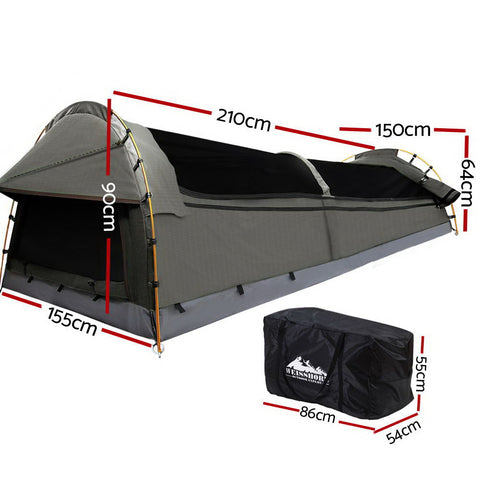 Weisshorn Double Swag Camping Swag Canvas Tent - Grey