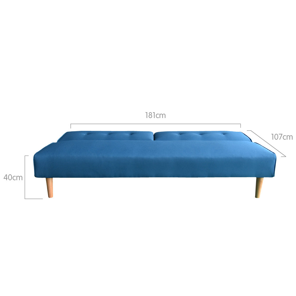 Soho 3 Seater Modular Linen Fabric Sofa Bed Couch Lounge Futon - Blue