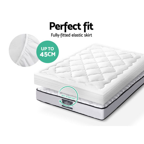Giselle Bedding Pillowtop Mattress Topper Protector 1000GSM Single